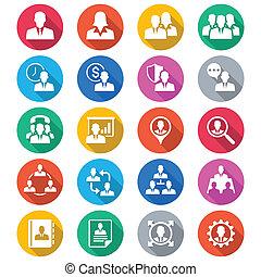 empresa / negocio, plano, color, iconos