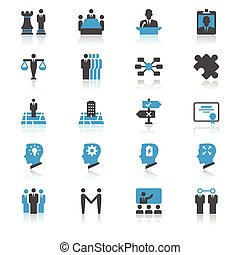 empresa / negocio, plano, con, reflexión, iconos