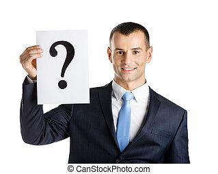 empresa / negocio, pregunta, marca, papel, Manos, hombre