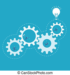 empresa / negocio, proceso, engranaje, mejora, vuelta,...