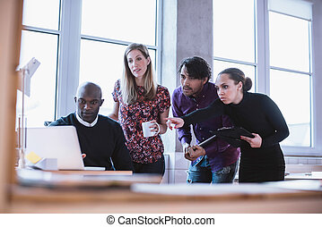 empresa / negocio, profesionales, el mirar, el, proyecto