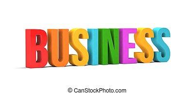 empresa / negocio, render, word., ilustración, plano de fondo, blanco, 3d