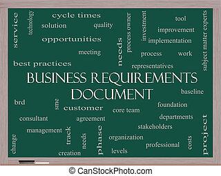 empresa / negocio, requisitos, documento, palabra, nube,...