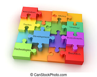 empresa / negocio, rompecabezas, concepto