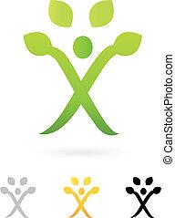 empresa / negocio, símbolo, árbol, aislado, verde, humano, blanco