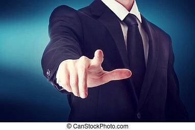 empresa / negocio, señalar, pantalla, conmovedor, algo, tacto, o, hombre