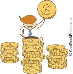 empresa / negocio, sentado, carácter, cima, moneda dólar, caricatura, hombre