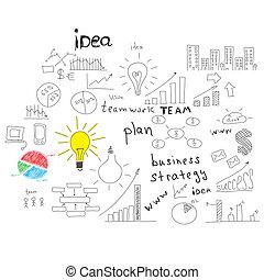 empresa / negocio, sketches:, edificios, palabras, y, más