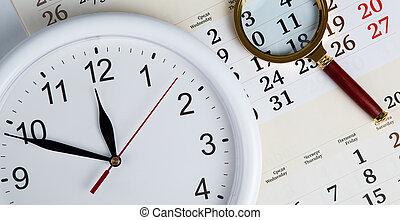 empresa / negocio, stil, vida, con, clockface