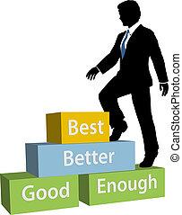 empresa / negocio, subidas, arriba, persona, prom, mejor