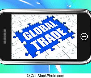 empresa / negocio, tableta, comercio global, en línea, internacional, exposiciones