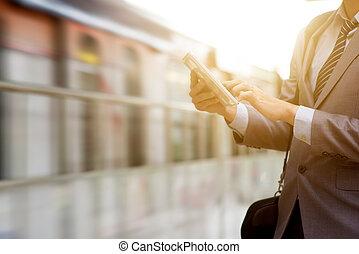 empresa / negocio, tableta, gente, pc, station., ferrocarril