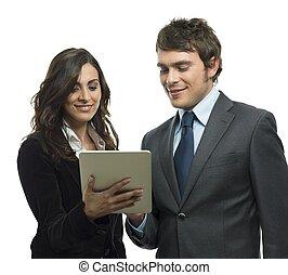 empresa / negocio, tableta, gente