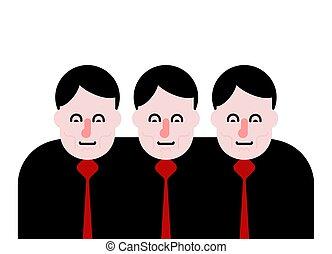 empresa / negocio, team., tres personas, juntos., vector, ilustración