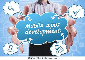 empresa / negocio, tecnología, internet, y, marketing., joven, hombre de negocios, pensamiento, about:, móvil, apps, desarrollo