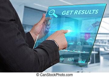 empresa / negocio, tecnología, internet, y, red, concept., hombre de negocios