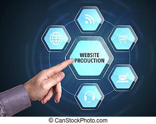 empresa / negocio, tecnología, internet, y, red, concept., joven, hombre de negocios, exposiciones, el, word:, sitio web, producción