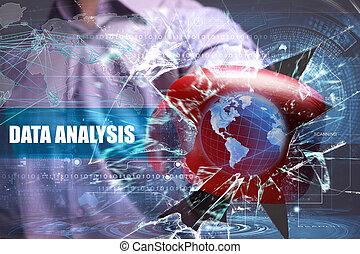 empresa / negocio, tecnología, internet, y, red, concept., joven, hombre de negocios, se estropea, el, virtual, futuro, de, el, pantalla, en, cuál, el, inscription:, datos, análisis