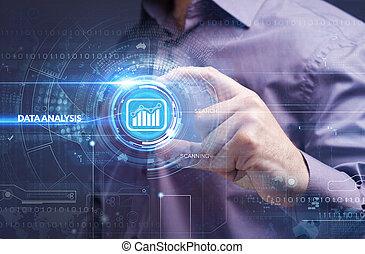 empresa / negocio, tecnología, internet, y, red, concept., joven, hombre de negocios, trabajo encendido, un, virtual, pantalla, de, futuro, y, ve, el, inscription:, datos, análisis