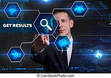 empresa / negocio, tecnología, internet, y, red, concept., joven, hombre de negocios, trabajo encendido, un, virtual, pizarra, de, futuro, él, ve, el, inscription:, conseguir, resultados