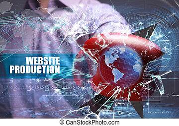empresa / negocio, tecnología, internet, y, red, security., sitio web, producción