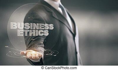 empresa / negocio, tenencia de la mano, hombre de negocios, nuevo, éticas, tecnologías
