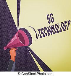empresa / negocio, tono, 5g, texto, volumen, tenencia de la mano, redes, highspeed, análisis, conceptual, foto, radio, sistema, móvil, technology., sonido, escritura, internet, megáfono, power., hu, actuación, nuevo, generación
