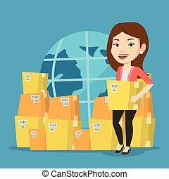 empresa / negocio, trabajador, de, internacional, entrega, service.