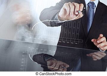empresa / negocio, trabajando, moderno, mano, s,...
