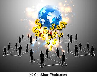 empresa / negocio, trabajo en equipo, con, dólar de los...