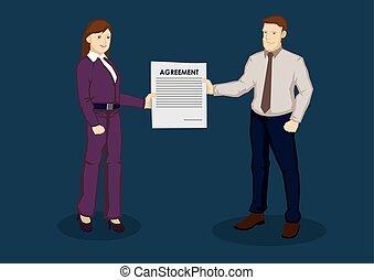 empresa / negocio, vector, acuerdo, ilustración, caricatura