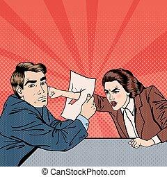 empresa / negocio, vector, conflicto, businesswoman., desacuerdo, art., entre, negotiations., taponazo, ilustración, hombre de negocios