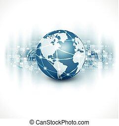 empresa / negocio, y, comunicación, aislar, flujo, ilustración, movimiento, plano de fondo, vector, mundo, blanco, tecnología