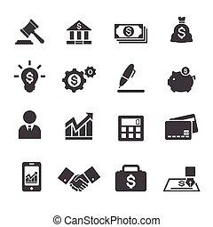 empresa / negocio, y, finanzas, icono