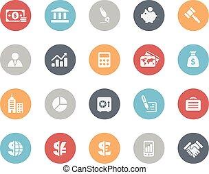 empresa / negocio, y, finanzas, iconos, clásico