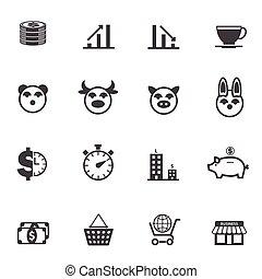 empresa / negocio, y, finanzas, iconos