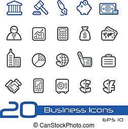 empresa / negocio, y, finanzas, iconos, //, línea