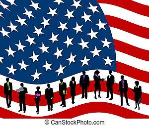 empresa / negocio, y, gente, rayas, estrellas, bandera