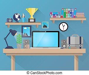 empresa / negocio, y, oficina, supplies., vecto