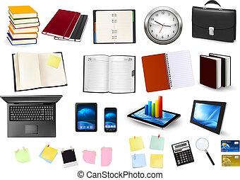 empresa / negocio, y, oficina, supplies., vector.