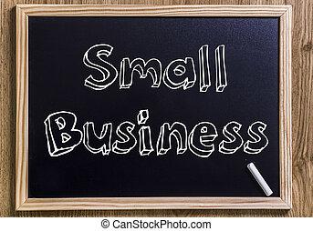 empresa pequeno porte, -, novo, chalkboard, com, 3d, esboçado, texto