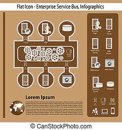 empresa, tecnología, infographics