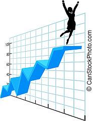 empresario, arriba, en, compañía, crecimiento, éxito, gráfico