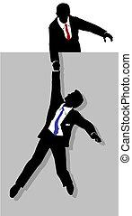 empresario, da, trabajador, mano que ayuda, arriba