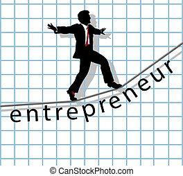 empresario, en, cuerda de equilibrista, empezar para arriba, éxito