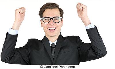 empresario, es, satisfecho, con, el suyo, ganancia, ingresos, ganancias, aplausos, éxito