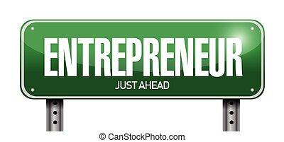 empresario, ilustración, señal