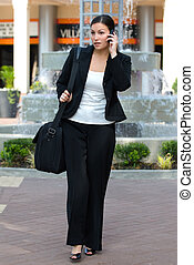 empresario, teléfono, célula, hablar, hembra