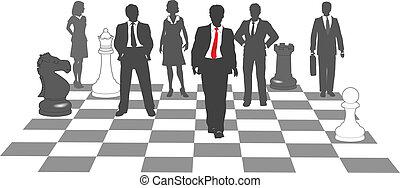 empresarios, ajedrez, equipo, victoria, juego