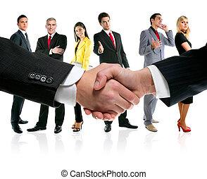 empresarios, apretón de manos, y, compañía, equipo